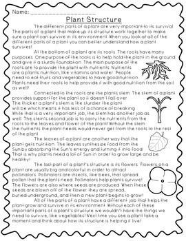 Plant Structure- 5E Lesson Plan, Reading Passage, Comprehension Questions