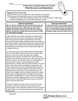 Plant Structure and Adaptations Annotated Video Script TEMPLATE- Amoeba Sisters
