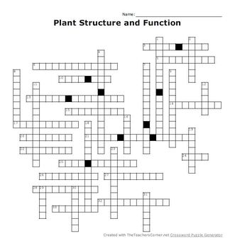 Plant Structure and Function Crossword Puzzle