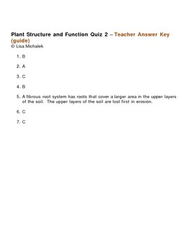 Plant Structure and Function Quiz 2