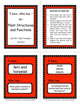 Plant Structures and Functions - Vocabulary & Review with Class Activity Games