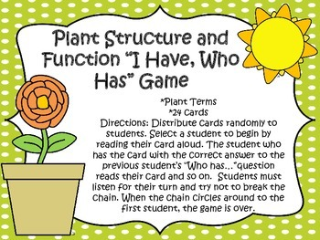 """Plant Terms """"I Have, Who Has"""" Game"""