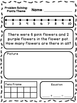 Plant Theme Addition & Subtraction Word Problems (Kindergarten/First)