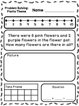 Plant Theme Addition & Subtraction Word Problems (Kinderga