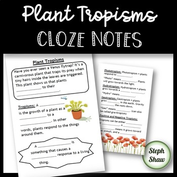 Plant Tropisms Cloze Notes