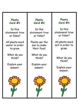 Plant True or False Bookmarkers