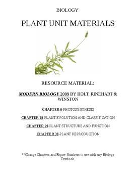 Plant Unit Graphic Organizer