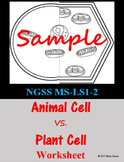 Plant VS Animal Cell Worksheet - EDITABLE
