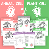 Plant VS Animal cell structure - All in ONE!! (Bundle worksheets)