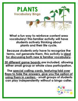 Plants Vocabulary Bingo