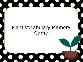 Plant Vocabulary Memory Game