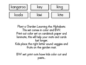 Plant a Garden Learning Alphabet  Kk