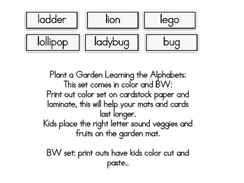 Plant a Garden Learning Alphabet  Ll