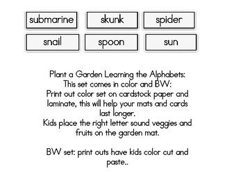 Plant a Garden Learning Alphabet  Ss