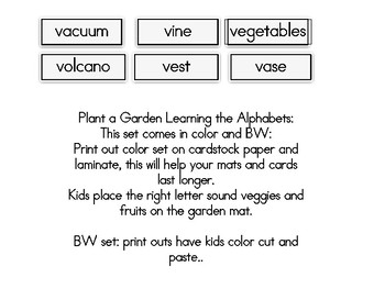 Plant a Garden Learning Alphabet  Vv