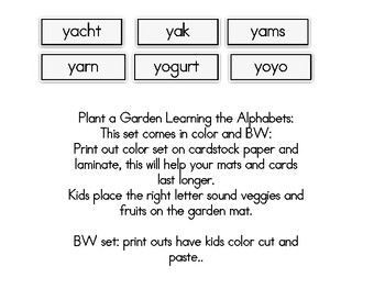 Plant a Garden Learning Alphabet  Yy