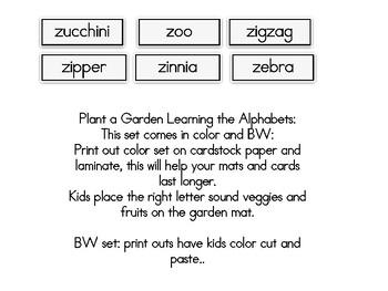 Plant a Garden Learning Alphabet  Zz