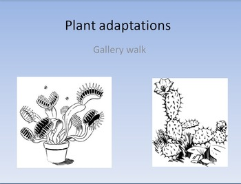 Plant adaptations and Biomes picture and w/passages gallery walk