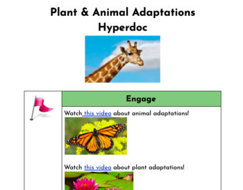 Distance Learning Plant and Animal Adaptations Hyperdoc