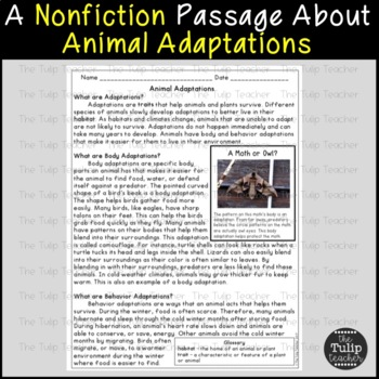 plant and animal adaptations reading comprehension paired passages. Black Bedroom Furniture Sets. Home Design Ideas