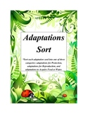 Plant and Animal Adaptations Sort With Rubric