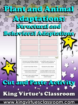 Plant and Animal Adaptations: Structural and Behavioral Cut and Paste Activity