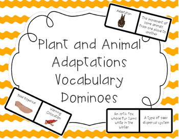 Plant and Animal Adaptations Vocabulary Dominoes