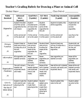 Plant and Animal Cell Project with Grading Rubric and Student Self Checklist