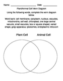 Plant and Animal Cell Comparison using Venn Diagram