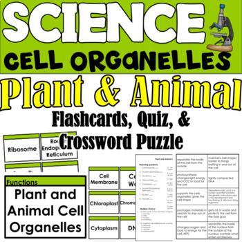 Plant and Animal Cell Organelles- Flashcards, Quiz, and Crossword Puzzle