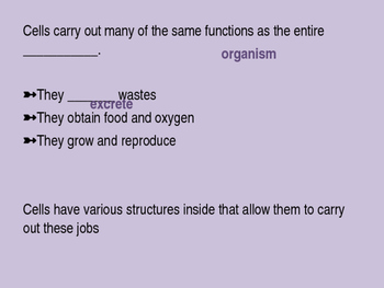 Plant and Animal Cell Structures Powerpoint and Guided Notes