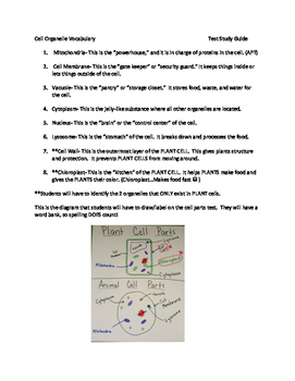 Plant and Animal Cell Test and Study Guide