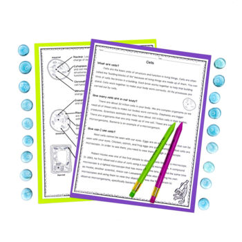 Plant and Animal Cell Unit of Worksheets Task Cards Flip Book and Project