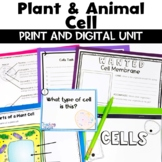 Plant and Animal Cell Unit includes Worksheets Task Cards,