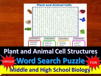 Plant and Animal Cells- A fun & unique Word Search Puzzle (Grades 7-12)