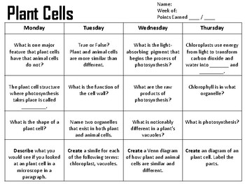 Plant and Animal Cells Spiral Review or Homework