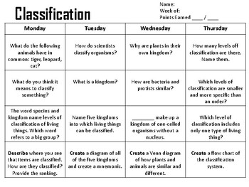 Plant and Animal Classification Spiral Review or Homework