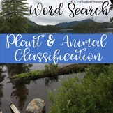 Plant and Animal Classification Wordsearch