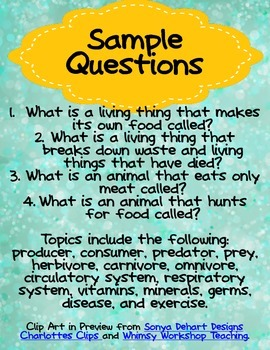 Plant and Animal Interactions Review Third Grade Science for Use in Quiz-E Games