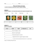 Plant and Animal Life Cycles Assessment