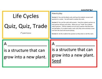 Plant and Animal Life Cycles Quiz, Quiz, Trade Center/Game