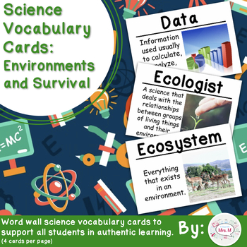 Environments and Survival Science Vocabulary Cards