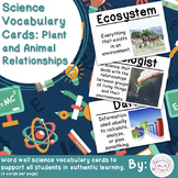 Plant and Animal Relationships Science Vocabulary Cards