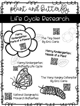Plant and Butterfly Life Cycle QR Codes
