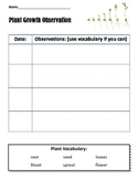 Plant observation chart with vocabulary