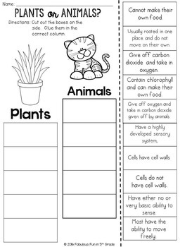 Plant or Animal?  Cut and Paste Sorting Activity