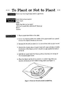 Plant or Not Plant (experiment in germination)