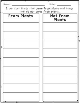 Plant or Not a Plant Sort and Write the Room Activity Cards