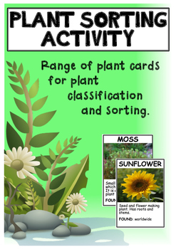 Plant sorting and classifying cards - science activity.