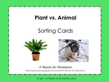 Plant vs. Animal Sorting Cards